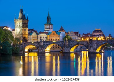 Scenic view of  historical center Prague, Charles bridge and buildings of old town, Prague, Czech Republic