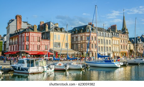Scenic view in Honfleur, coastal village in Lower Normandy, France-08-2016