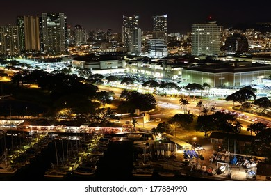Scenic view of Honolulu city at night.