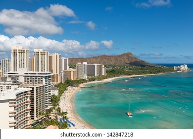 Scenic view of Honolulu city and Waikiki Beach; Hawaii, USA