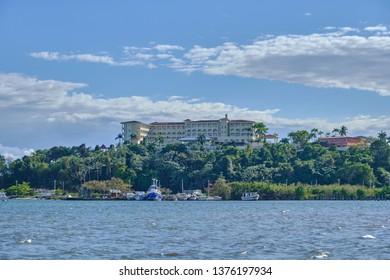 Scenic view of hotel on sea coast in Samana peninsula in Dominican Republic. Beautiful summer look of resort at coastline of Caribbean sea