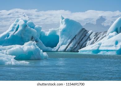 Scenic view of icebergs in Jokulsarlon glacier lagoon, Iceland, in summer