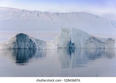 Scenic view of the icebergs on arctic ocean in Greenland