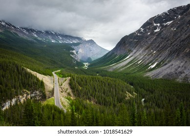 Scenic view of Icefields Parkway and  Cirrus Mountain in Banff National Park. It travels through Banff and Jasper National Parks and offers spectacular views of the Rocky mountains.