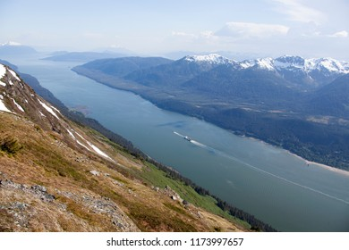 The scenic view of Inside Passage from Mount Roberts (Juneau, Alaska).