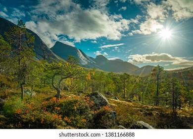 Scenic view into the Efjorddalen valley wilderness in Norway in autumn