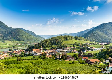 Scenic View into the Wachau with the river Danube. Spitz. Austria.