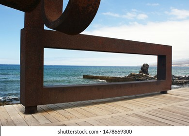 Scenic view of a iron colorful sculpture June 7, 2019  in Tenerife, Spain