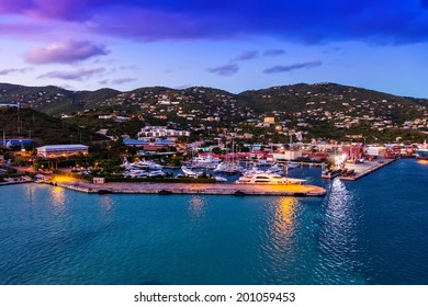 Scenic view of the island of St. Thomas near a marina and the small city of Charlotte Amalie in the Caribbean.
