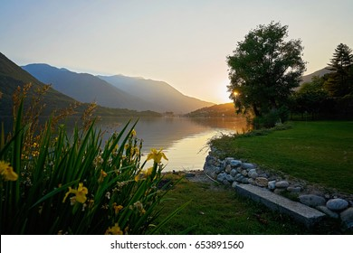 Scenic view of an Italian Lake at sunset