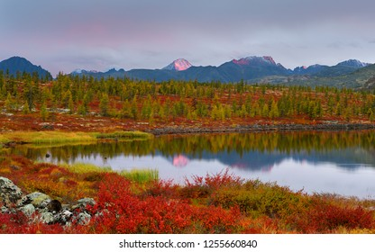 Scenic view of Jack London Lake in Magadan region, Russia