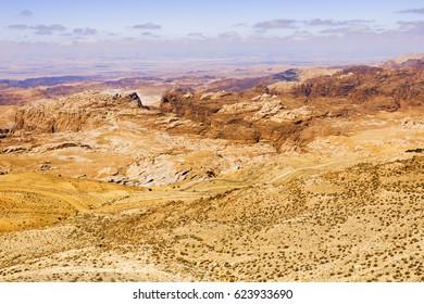 Scenic view of Jordanian desert.
