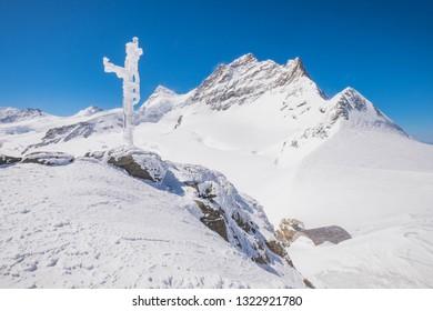 Scenic View of Jungfraujoch and Snow. Landscape of Snowy Mountain of Swiss Alps. Gigantic Mountain of Switzerland. Scenic View of Mountain Landscape., Wengen, Switzerland