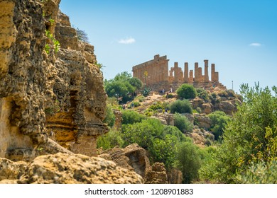 Scenic view of Juno Temple in the Valley of the Temples of Agrigento. Sicily, southern Italy.