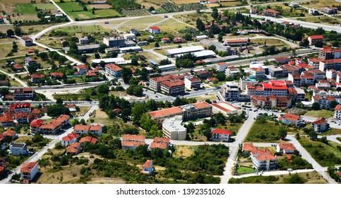 Scenic view of Kalambaka village in Greece near Meteora.
