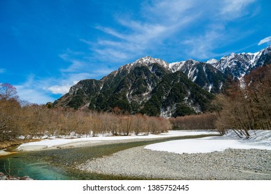 "Scenic view of Kamikochi (Means ""where gods descend"") Located in Japan alps.  These photo taken in April 2019 at early opening of Kamikochi (Open from late April to early November)"