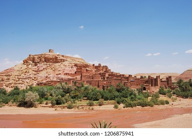 Scenic view of the Kasbah Ait Ben Haddou near Ouarzazate in the Atlas Mountains of Morocco. UNESCO World Heritage Site since 1987.