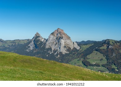 A scenic view of Kleiner and Grosser Mythen from the Fronalpstock mountain, Swirzerland
