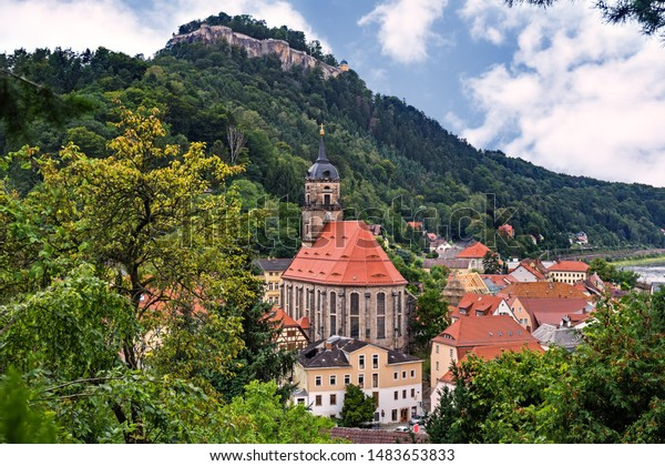 Scenic view of Koenigstein town and castle, Saxon Switzerland, Germany