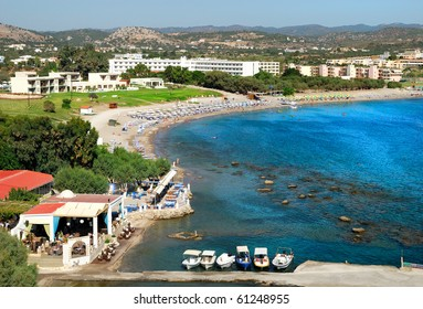 Scenic view of Kolimbia bay at Rhodes. Greece