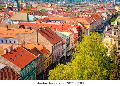 Scenic view of Kosice Old city from St. Elisabeth Cathedral, daytime cityscape with main street buildings and red tiled roofs, Slovakia (Slovensko)