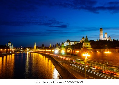 Scenic view of Kremlin and the Christ the Savior Cathedral in Moscow, Russia after sunset