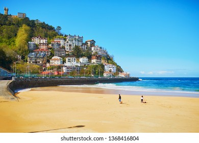 Scenic view of La Concha beach in San Sebastian (Donostia), Spain