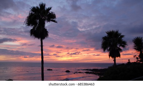 scenic view of laguna beach at sunset in Orange County California