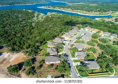 Scenic view of lake above Aerial drone view above Real estate development houses and homes in suburb Georgetown , Texas view of Georgetown lake