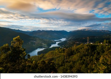 Scenic view of the lake at the Canicada Dam and the surrounding mountains at the Peneda Geres National Park, in Portugal, Europe.