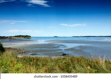 Scenic view of lake and coastline, Brittany, France, Europe
