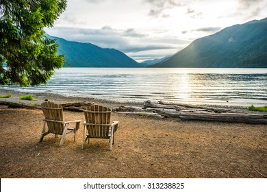 scenic view of  lake Crescent in Olympic national park,Washington State.Usa