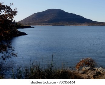 Scenic view of Lake Lawtonka with the 2,464-foot Mt. Scott in the background in the Comanche County of Oklahoma.