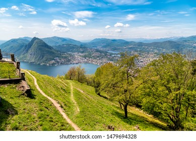 Scenic view of lake Lugano with Monte San Salvatore and Lugano town from Monte Bre, Ticino, Switzerland