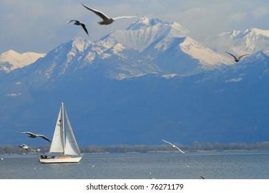 scenic view of Lake Maggiore and Swiss Alps at Locarno in Southern Switzerland