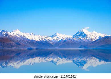 Scenic view of Lake Pukaki and Mt Cook with reflection, Southern Alps, New Zealand