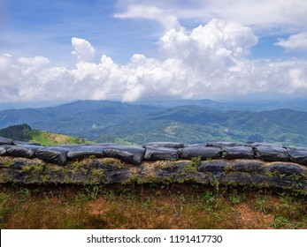 Scenic view landscape of mountains and sandbag bunkers in chiangrai province border of Thailand and Myanmar.