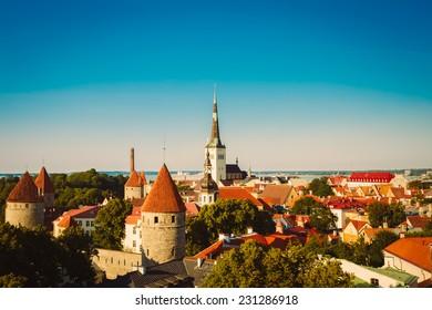 Scenic View Landscape Old City Town Tallinn In Estonia. Toned, Instant Photo