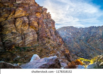 A scenic view of the landscape in Tahquitz Canyon Hike Trail