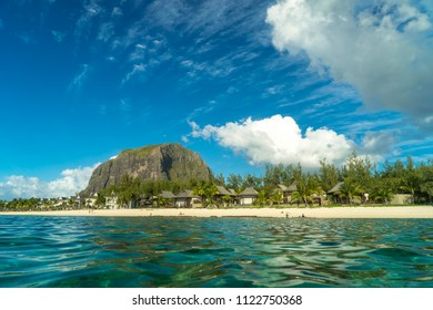 Scenic view of Le Morne mountain from the ocean side. Mauritius Island