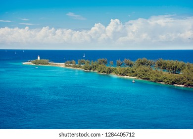Scenic view of the lighthouse on the tip of Paradise Island in Nassau, Bahamas