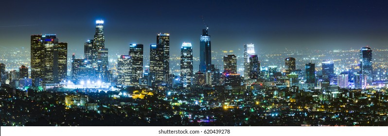 scenic view of Los Angeles skyscrapers at night,California,usa.