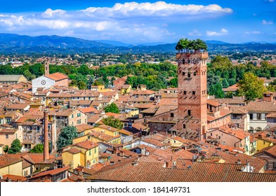 Scenic view of Lucca and Guinigi tower from Torre delle Ore, Lucca, Italy