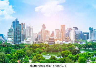 Scenic view of Lumphini (Lumpini) Park and Bangkok city in Thailand from above.Evening period cityscape at Lumphini park, Bangkok skyline ThailandCityscape at Lumphini Park, park in Bangkok