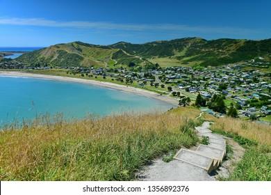 Scenic view of Mahia Bay from Mokotahi Lookout at Mahia, Hawke's Bay in New Zealand