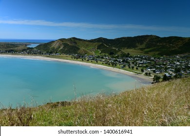 Scenic view of Mahia Bay from Mokotahi Lookout at Mahia, Hawke's Bay in New Zealand
