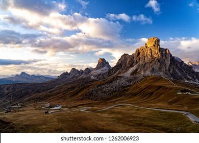 Scenic view of majestic Dolomites mountains in Italian Alps. Landscape shot at the Passo di Giau, in the the Italian Dolomites, during autumn time.