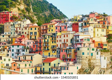 Scenic view to Manarola, one of five famous villages of Cinque Terre in Liguria, Italy