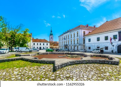 Scenic view at marble traditional square and architecture in city center of Karlovac town, Central Croatia. / Selective focus.