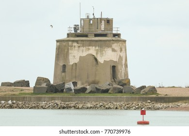 A scenic view of Martello tower no 66,  North east of Langney Point, Eastbourne, UK.